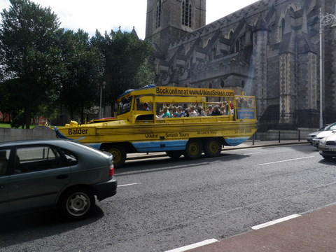 The Viking Splash tours bus, shaped like a Viking boat