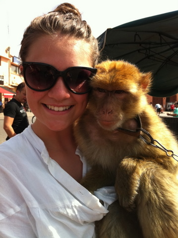 Nadia with the depressed monkey often beaten by his master