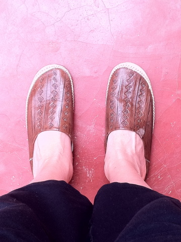 traditional Morrocan sandals match perfectly with the floor