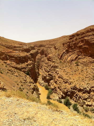 Arid scenery with the Dades River below