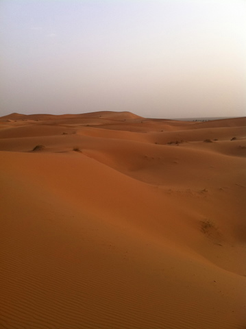 The dunes of Erg Chebbi can be excruciatingly hot in midday in July