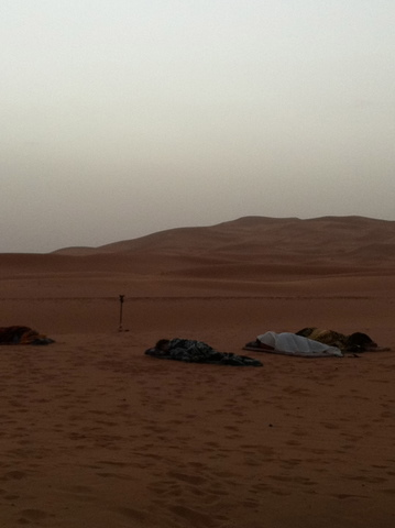 Berbers like to sleep outside, it's warm in July