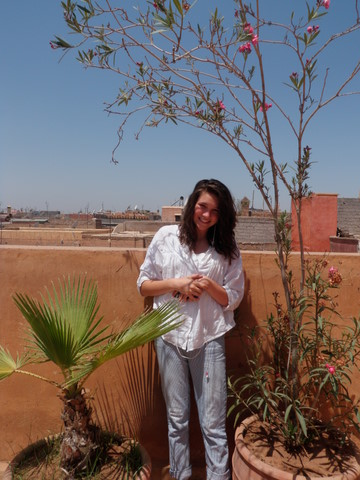 Nadia on the Terrace of the Riad Azenzer in the Medina