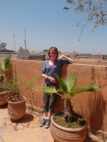 Isabelle on the terrace with the souks of Marrakech five minutes away