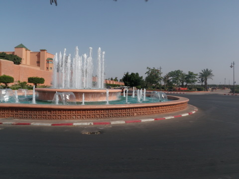 Spectacular water fountains in front of the Mamounia Hotel one of the most prestigious in the world