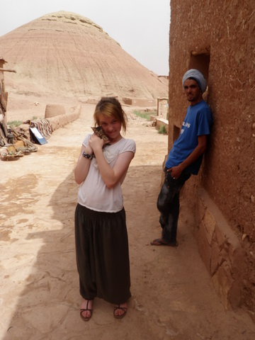 Isabelle with our French-speaking Berber guide behind her called Ayou