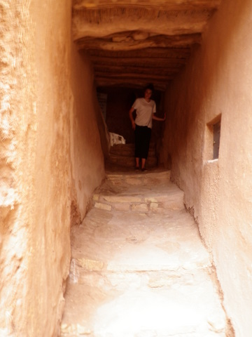 Nadia in a tunnel street in the Unesco town of Ait Benhaddou
