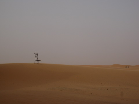 A chair in the desert at the Hotel Du Sud