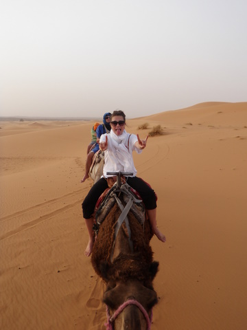 Nadia enjoying her camel trek