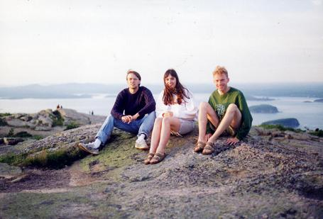 Myself, Randall and Tara standing on Cadilac Mountain, Acadia National Park