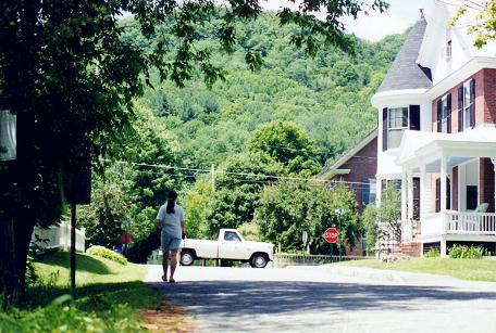 Tara walking in Woodstock(?) Vermont,