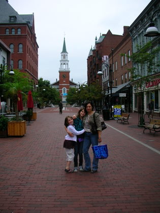 The girls in front of the First Unitarian Church, Burlington Vermont
