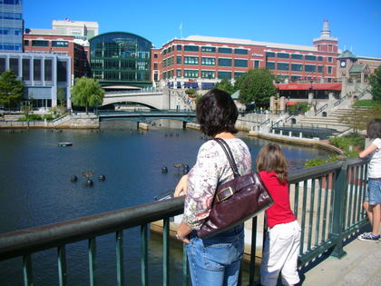 Girls looking at the spectacular Waterplace Park in Providence