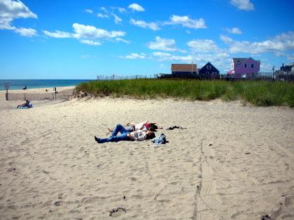 Girls suntanning in Charlestown, Rhode Island