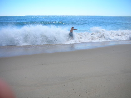 Splashed by the waves in Charlestown