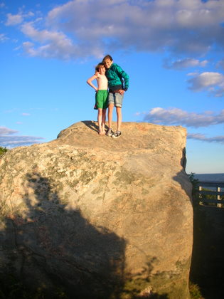 Nadia and Izzy loved climbing the boulders