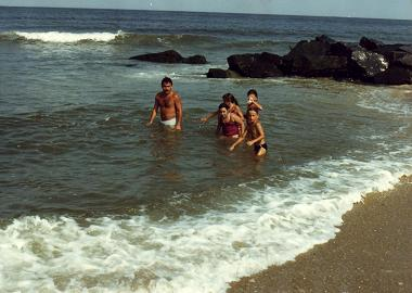 Some of the Costa family in the beach