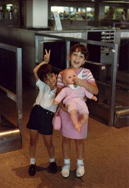 Lizabeth Costa and her cousin, Eddie Paulo at the Kennedy Airport