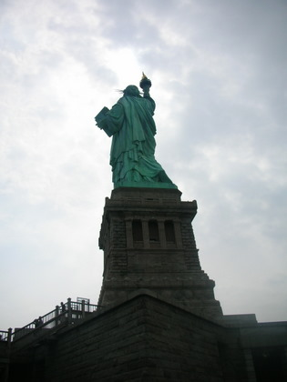 The Statue of Liberty seen from behind