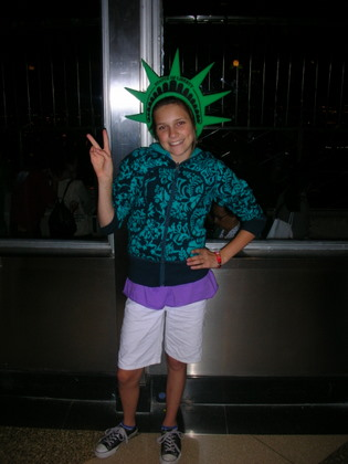 Nadia imitating the Statue of Liberty