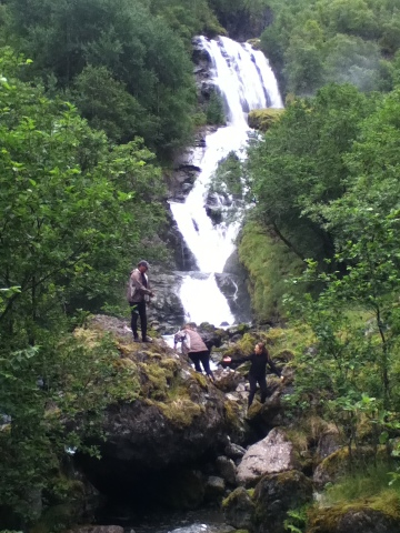 Members of our group climbing the Odesfossen fall