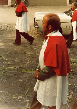 Dad walking during a religious ceremony in Febres