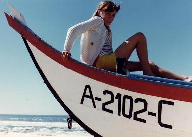 Ginette in a fishing boat in the beach in Mira, in terra firma