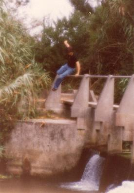 Myself, jumping over the bridge to the ledge