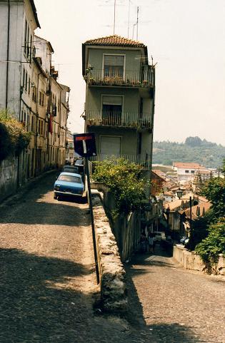 Narrow houses, narrow streets in the city