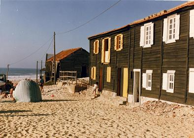 Old Fisherman houses in Mira called palheiros.