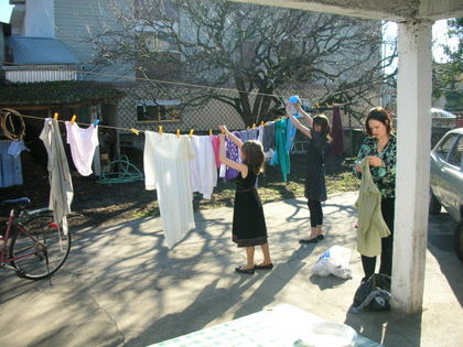 The girls drying the clothes