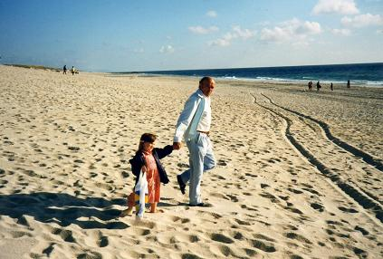 My dad loved to walk with his first grand-daughter at the beach