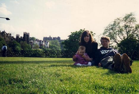 In front of Calton Hill with Nadia nine months old