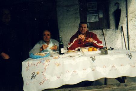 Me and dad eating outside in winter, a tradition