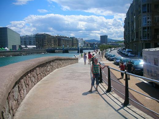 Isabelle in San Sebastian, Spain by the Rio Urumea