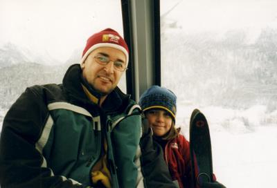In the gondola up to the mountain in Celerina Bergbahne