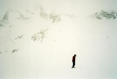 Nadia skiing in St Moritz during a snowstorm