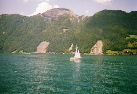 Boat sailing near Brunnen on Lake Lucerne