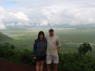 Tara and I standing on top of Ngorongoro