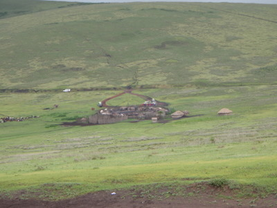 Close-up of the Masai village