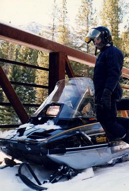 Gilbert Didier in Yellowstone National Park on a rented snowmobile