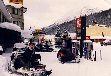 Myself on a snowmobile in Cooke City gas station