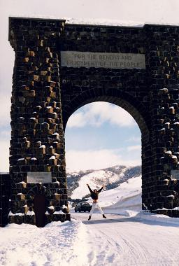 Jumping in front of North Gate, Yellowstone