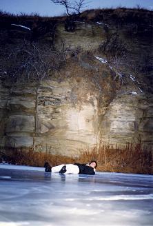 Sleeping on a frozen creek in southern Alberta