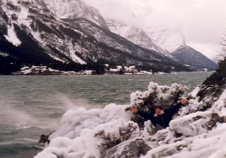 Hiding behind an ice bank in Waterton lake