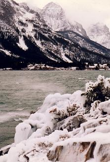 Winter view of the spetacular Waterton Lake