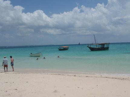 Boats in Sandbar Island near Stone Town, Zanzibar