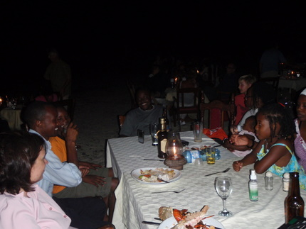 Eating by the ocean on the sand in Zanzibar