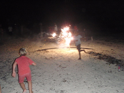 Kids and teenagers were holding fireworks, too daring for me