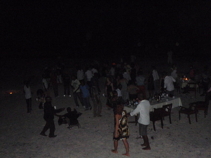 The dancing floor, the white sand of Zanzibar
